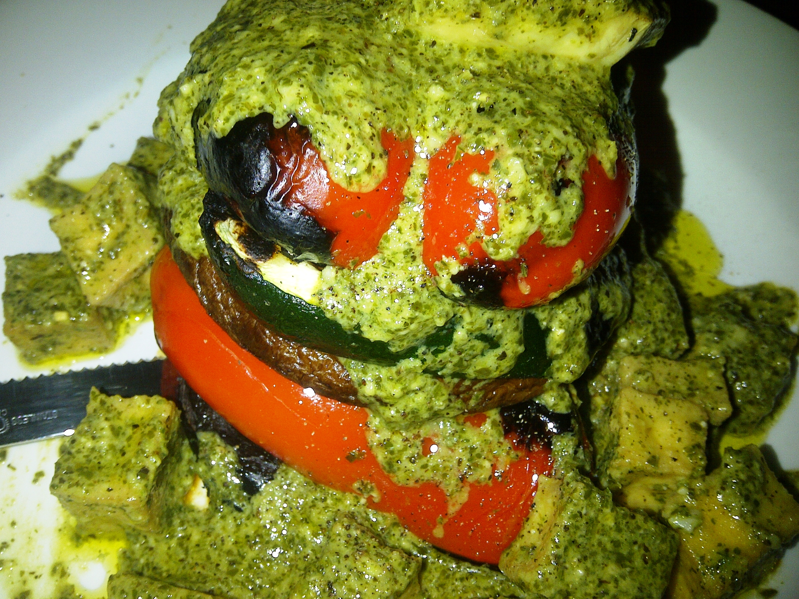 Grilled Vegetable Stack with Pesto Tofu